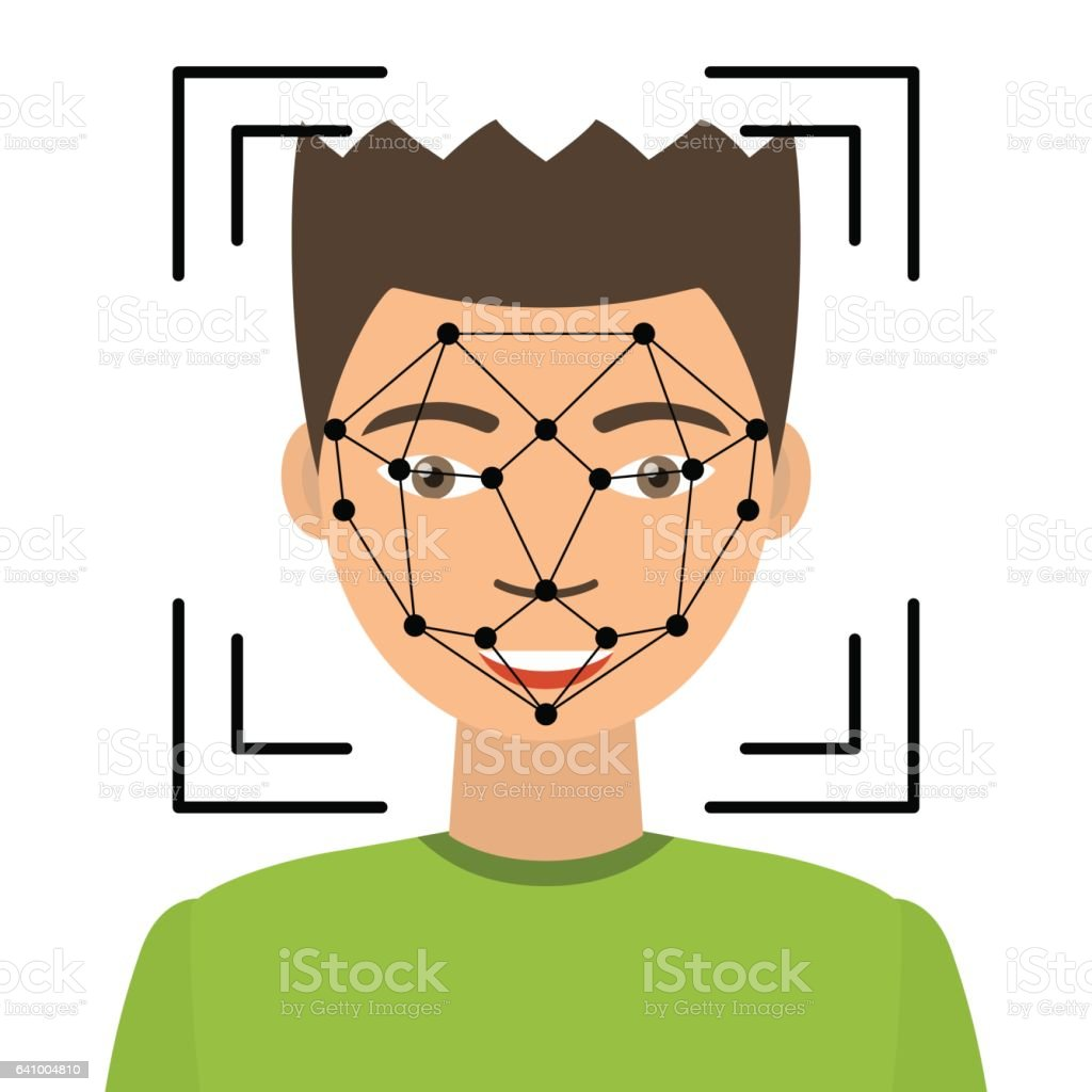Biometrical identification. Face recognition. vector art illustration