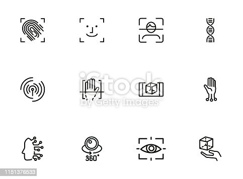 Biometrics line icon set. Fingerprint, face ID, DNA. Identity concept. Can be used for topics like security, safety, recognition