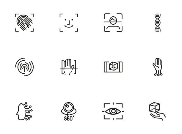 생체 인식 라인 아이콘 세트 - 신분 stock illustrations