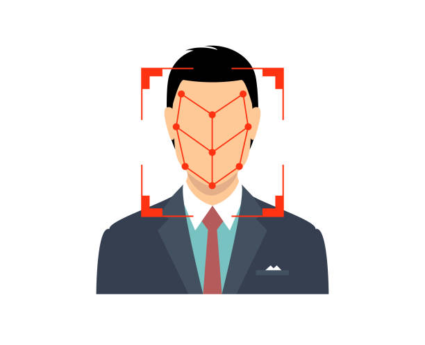 bio-metrics of a man , face detection, recognition and identification - facial recognition stock illustrations