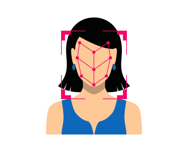 bio-metrics of a woman , face detection, recognition and identification - facial recognition stock illustrations