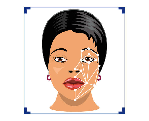 biometrics of a woman, face detection, recognition and verification - facial recognition stock illustrations