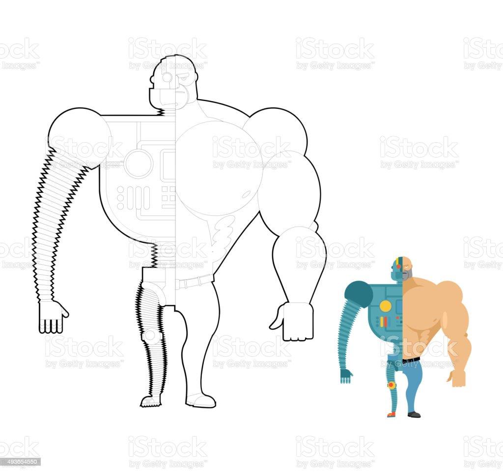 Bionic Robot Libro Para Colorear Cyberhombre De Futuro Esqueleto De ...