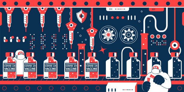 Biotech firms (scientist, doctor, biochemist, pharmacist) rush to make new coronavirus vaccines (covid-19) in a pharmaceutical factory with production line showing a row of vaccine bottles vector art illustration