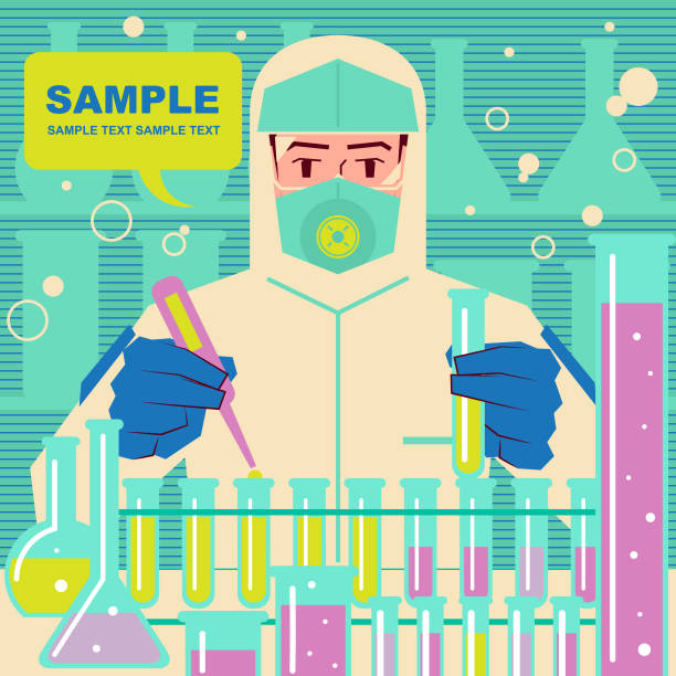 Biotech firms rush to make new coronavirus vaccines (2019-nCoV), scientist (doctor, biochemist) in protective clothing is doing scientific experiment vector art illustration