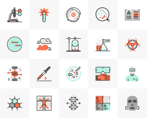 biotechnology futuro next icons pack - science icons stock illustrations