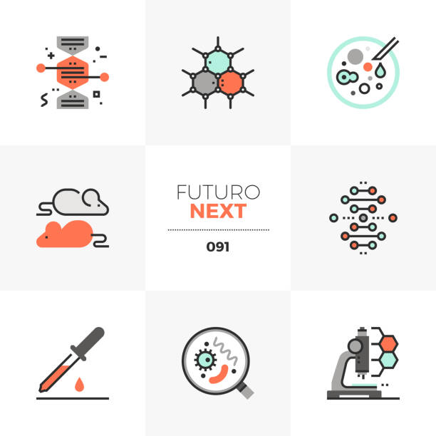 Biotechnology Futuro Next Icons Modern flat icons set of bio technology process, gene modification. Unique color flat graphics elements with stroke lines. Premium quality vector pictogram concept for web, logo, branding, infographics. chromosome stock illustrations