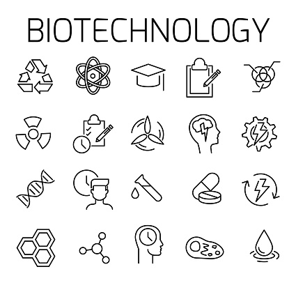 Biotechnology related vector icon set.