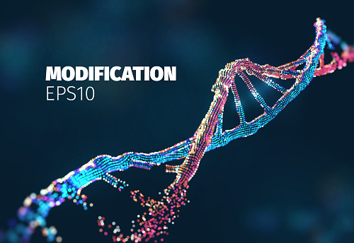Biotechnology vector background. Genetic engineering. Dna modified. Gene editing research lab