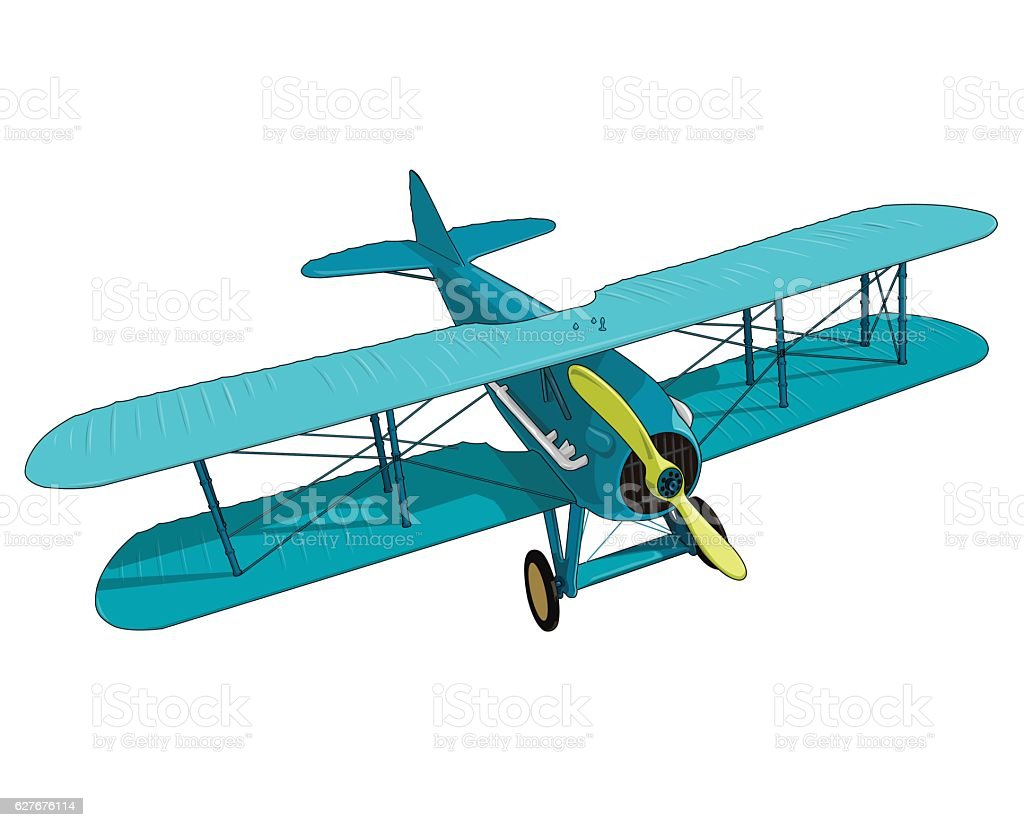 Biplane from World War with blue coating. Model aircraft propeller. vector art illustration