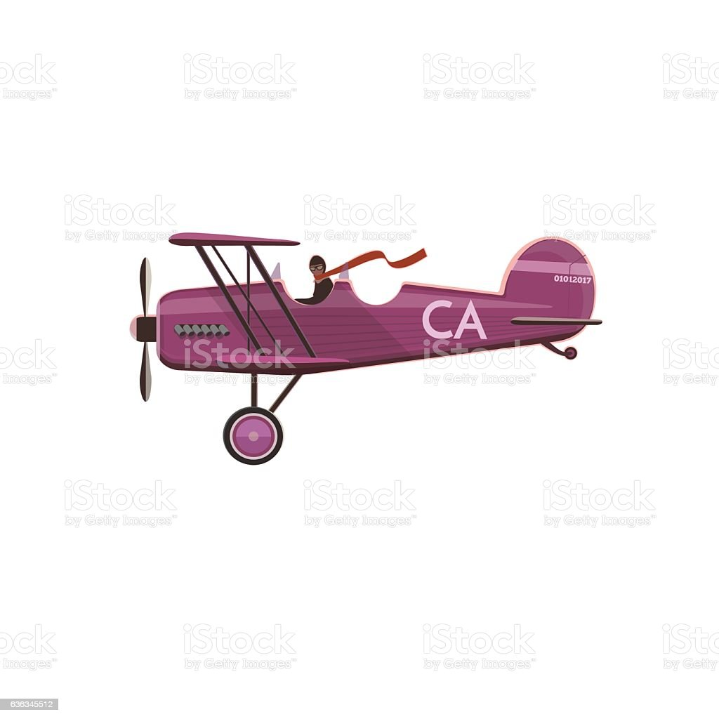 Biplane icon, cartoon, style vector art illustration