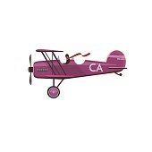 Biplane icon, cartoon, style