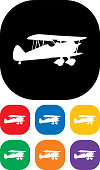 Vector biplane icon set.