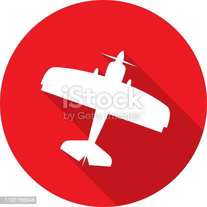 Vector illustration of a red biplane icon in flat style.