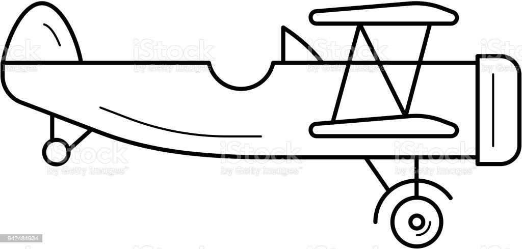 Biplane line icon vector art illustration