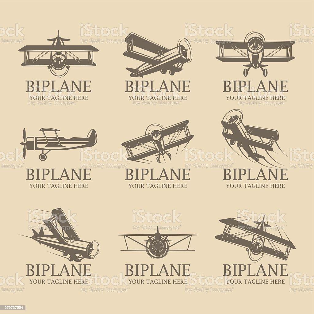 Biplane logos - ilustración de arte vectorial