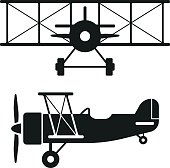 Side view and front view of a retro biplane. EPS 10 file.