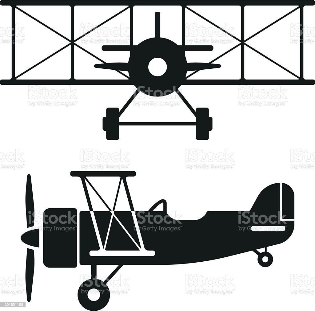 Biplane Retro Plane Silhouettes vector art illustration