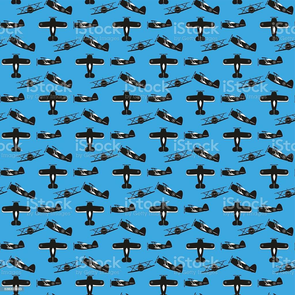 biplane seamless pattern vector art illustration