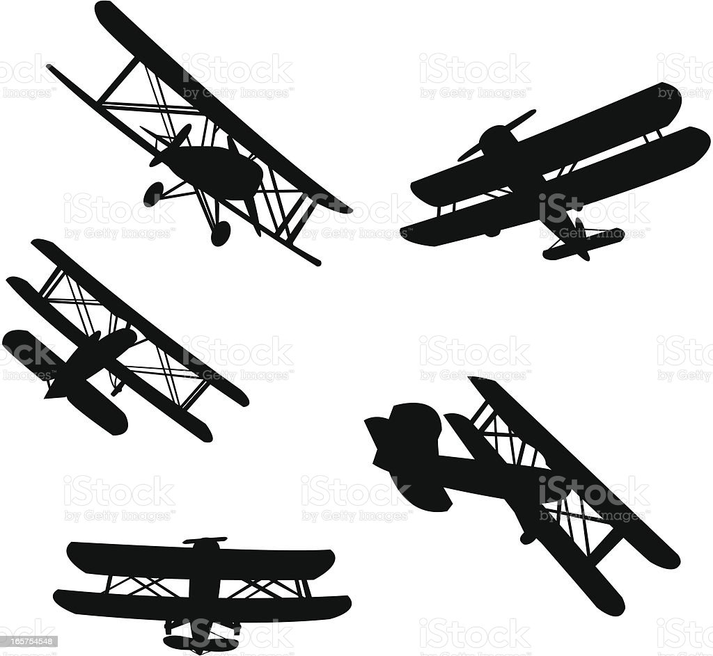 Biplane silhouetes vector art illustration