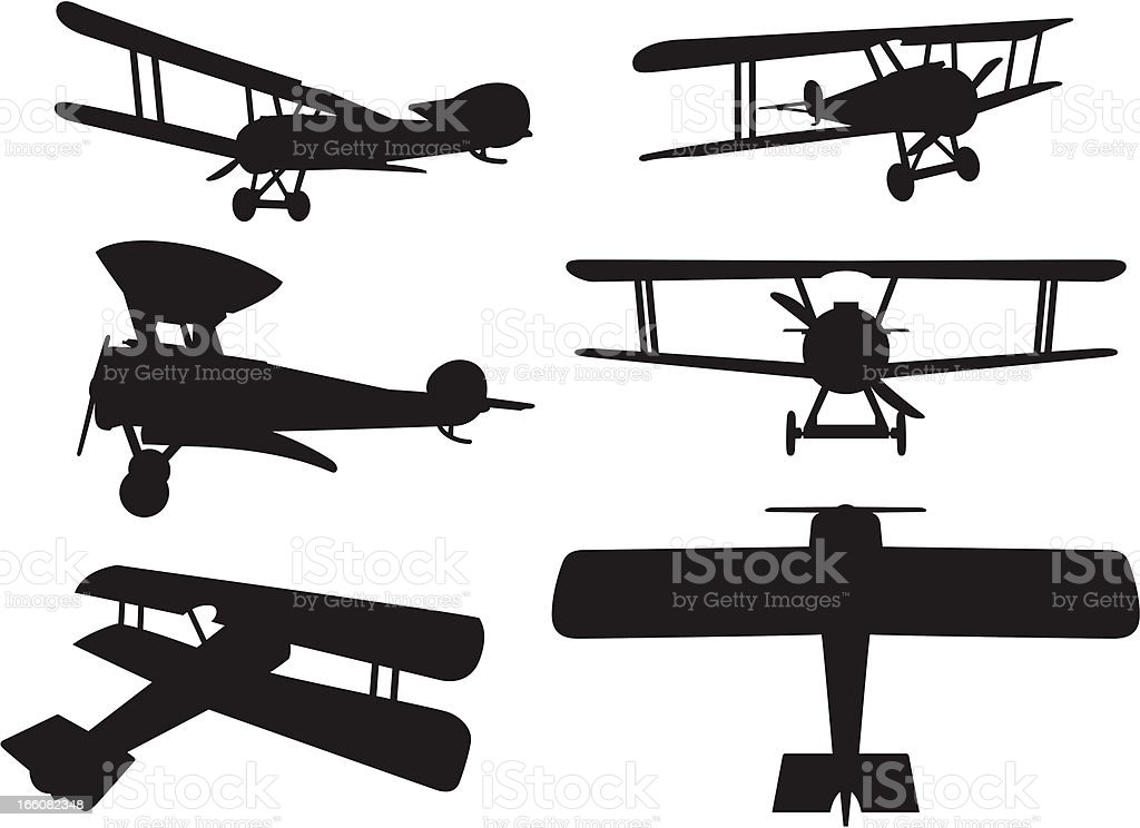 Biplane Silhouettes vector art illustration