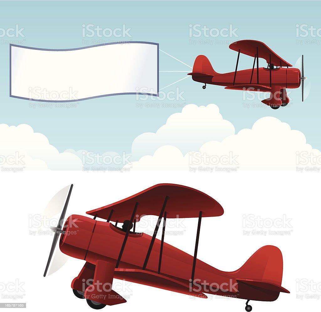 Biplano con banner - ilustración de arte vectorial