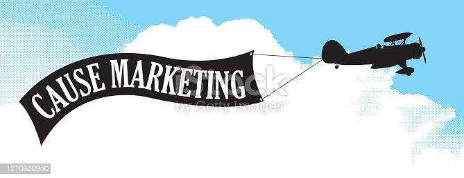 istock Bi-Plane with Cause Marketing Banner 1210630950
