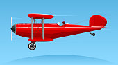Biplane with flying pilot vector illustration.