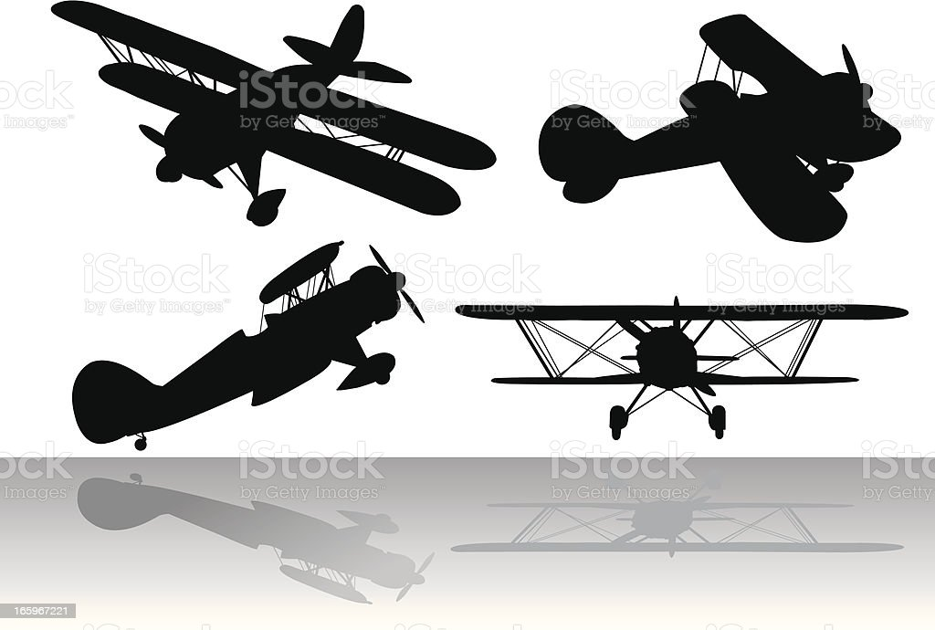 Biplanes - Air Travel vector art illustration
