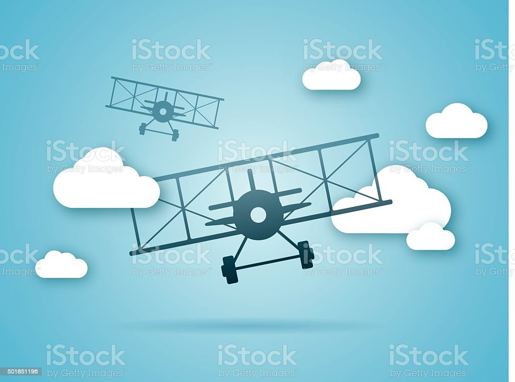 Biplanes Flying in the Clouds vector art illustration