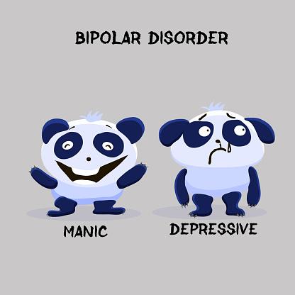 Bipolar double personality mental disorder panda. Mental health problem.  Vector illustration for websites, brochures, magazines. Cartoon, flat. Medicine concept.