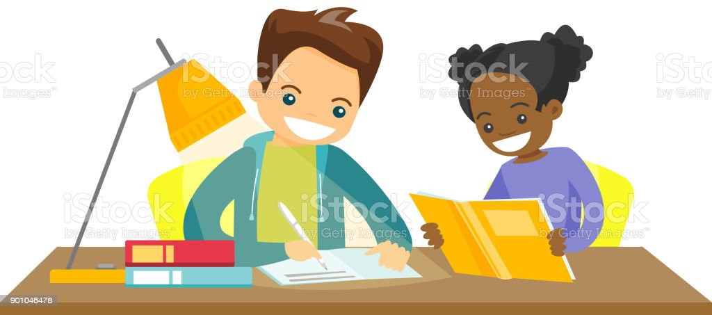 Biracial brother and sister doing homework vector art illustration