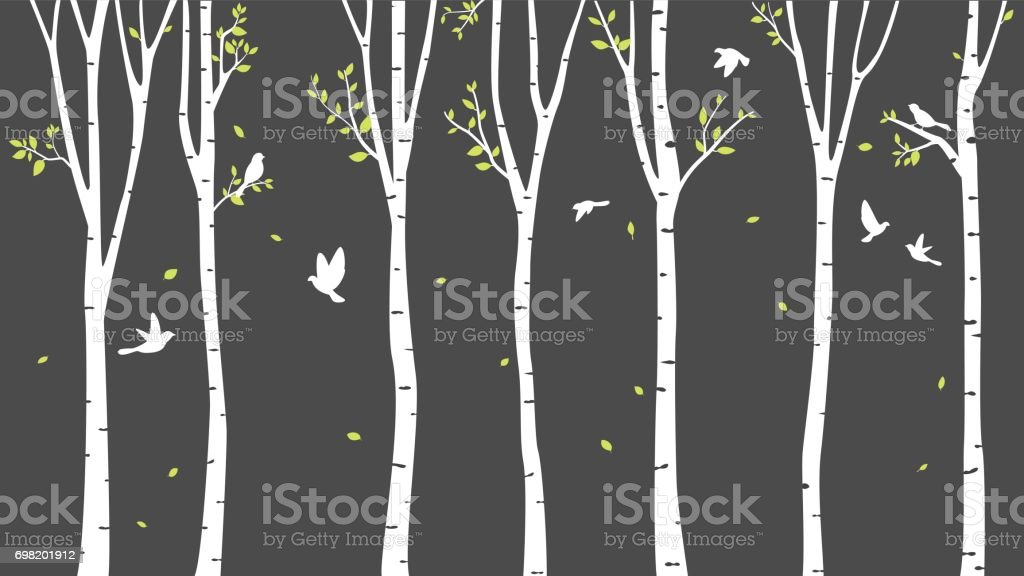 Birch Tree with deer and birds Silhouette Background vector art illustration