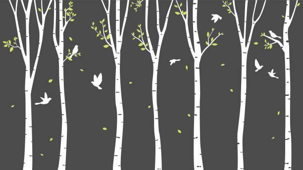stockillustraties, clipart, cartoons en iconen met berken boom met herten en vogels silhouet achtergrond - vogel herfst