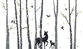 Vector Illustration of Birch Tree with deer and birds Silhouette Background