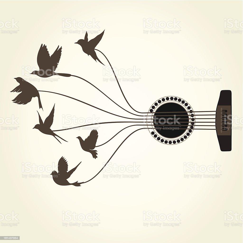 Bird a guitar vector art illustration