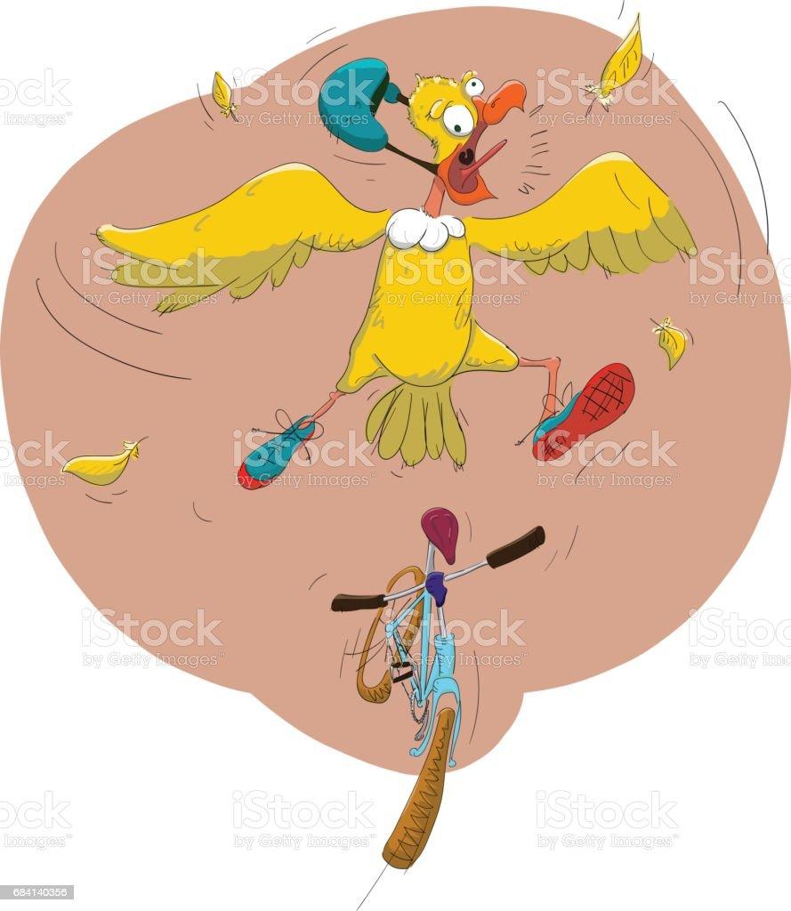 A bird and a bicycle a bird and a bicycle - immagini vettoriali stock e altre immagini di ala di animale royalty-free