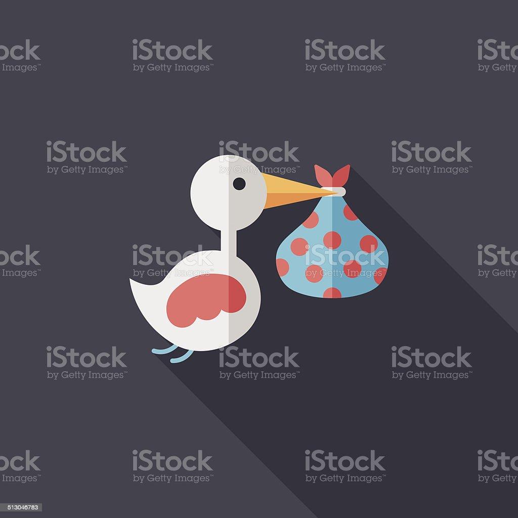 Pássaro E Bebê ícone Plana Com Sombra Longa Eps10 Vetor E Ilustração
