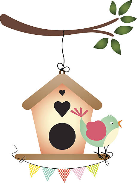 illustrations, cliparts, dessins animés et icônes de oiseaux et cabane à oiseaux - cage animal nuit