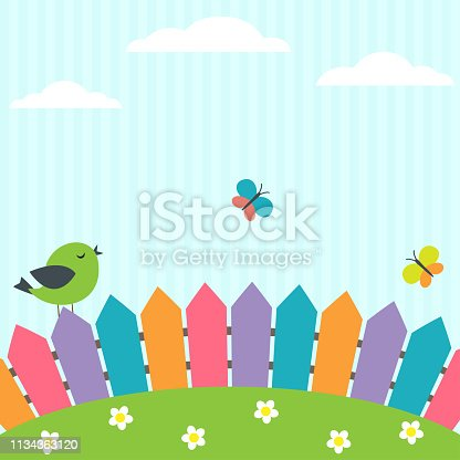 Vector background with bird and flying butterflies