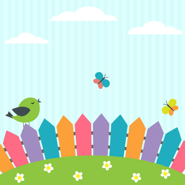 bird and butterflies - przedszkole stock illustrations
