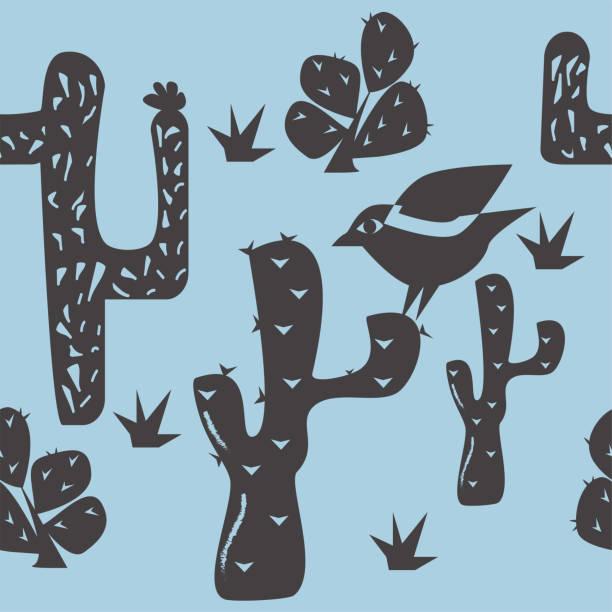 Bird and cactus seamless pattern vector. Traditional Brazilian linocut style illustration. Bird and cactus seamless pattern vector. Traditional Brazilian linocut style illustration. linocut stock illustrations