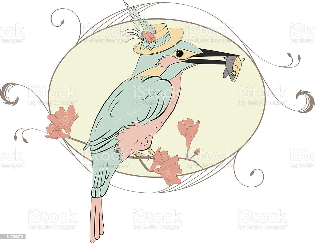 Bird and fish vector art illustration
