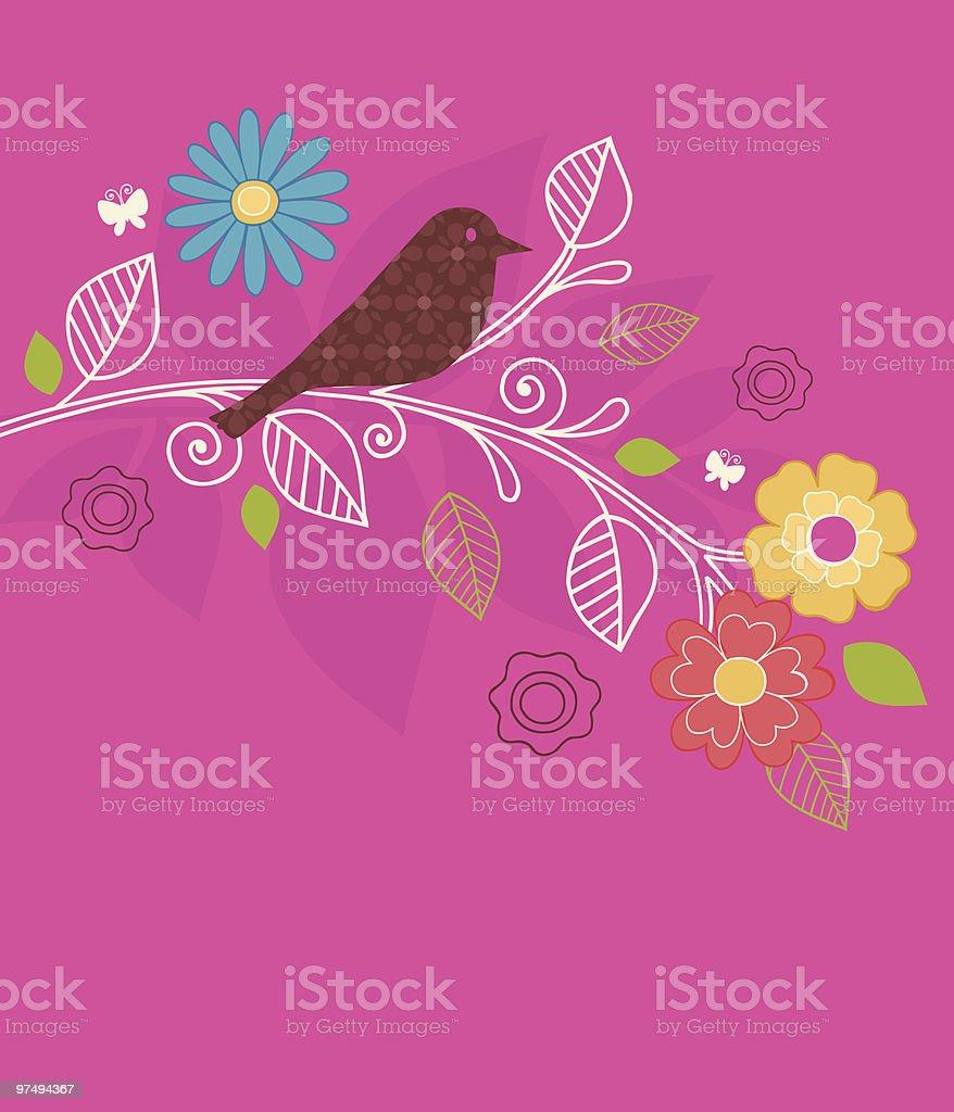 Bird and Flower Garden Vector Design royalty-free bird and flower garden vector design stock vector art & more images of bird