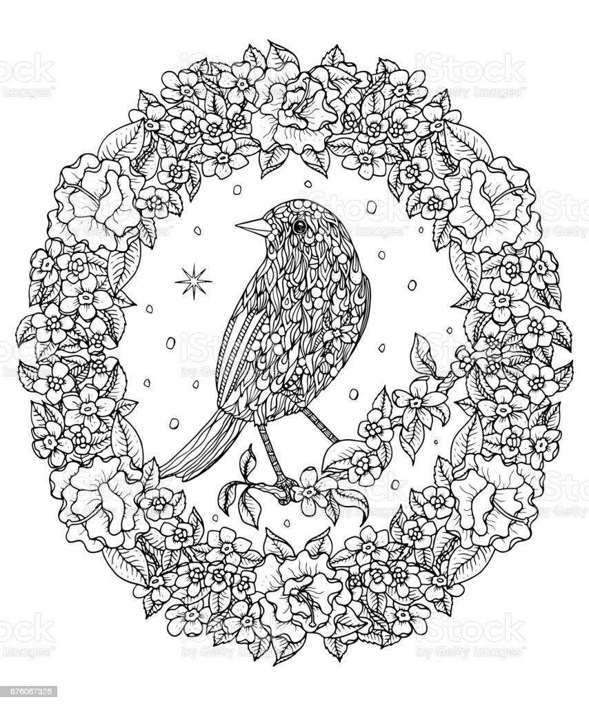 Kuş Ve çiçek çelenk Sayfa Boyama Dağ Mavi Kuş Vektör çizim Stok