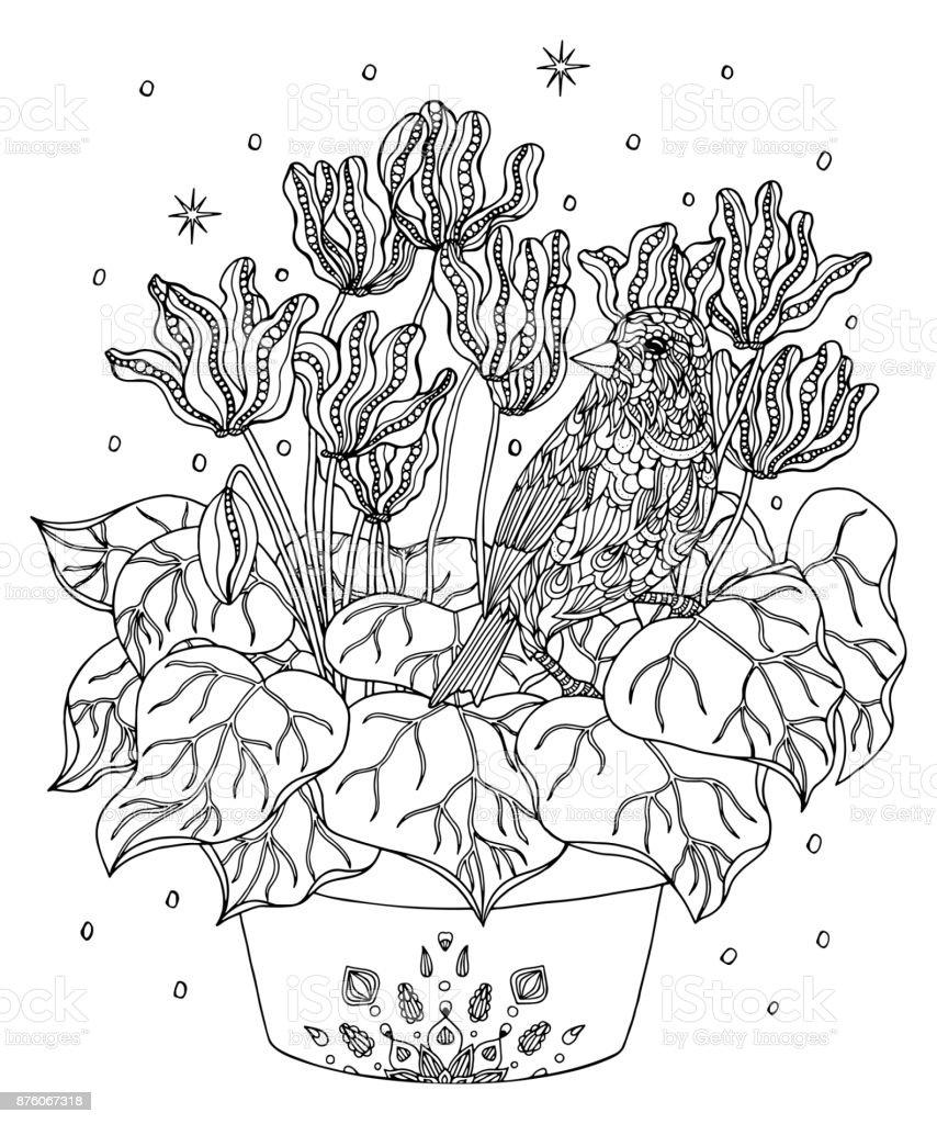Kuş Ve çiçek Sayfa Boyama Atlantik Kanarya Stok Vektör Sanatı