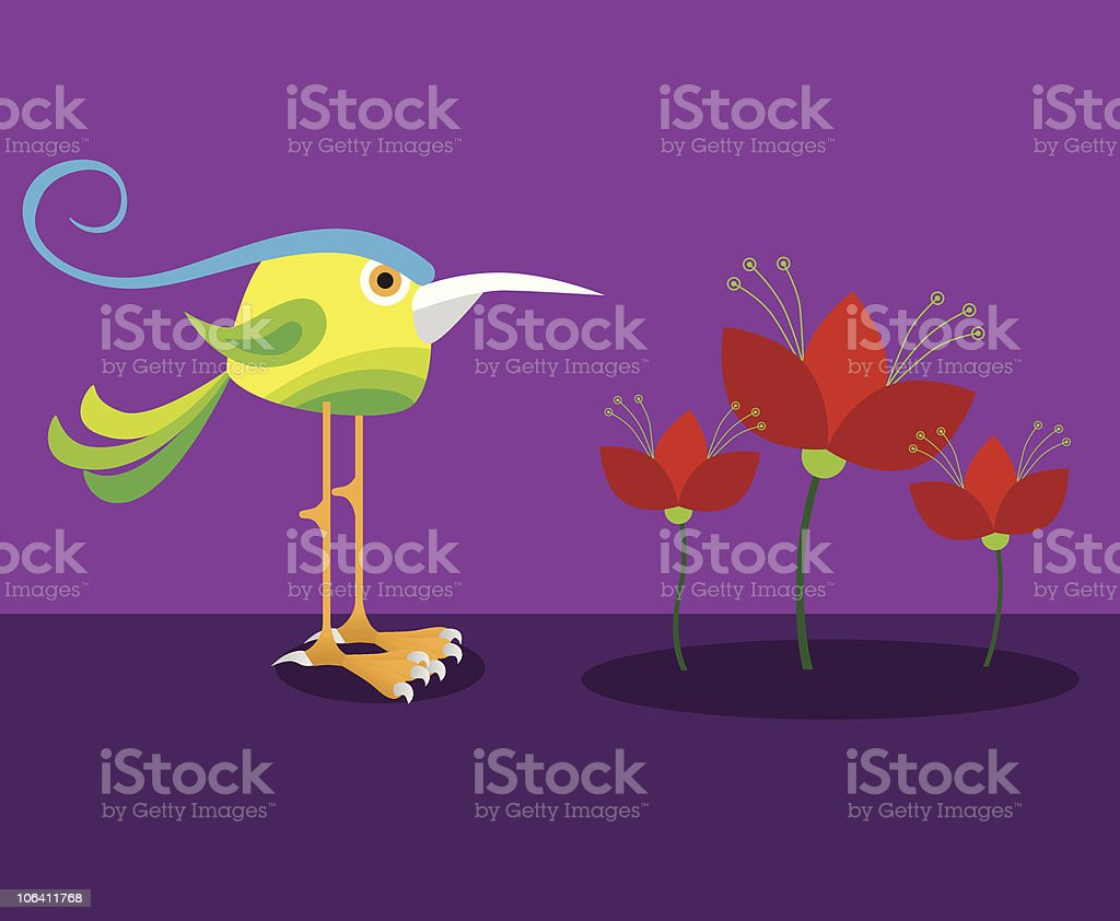 Bird and flowers royalty-free stock vector art