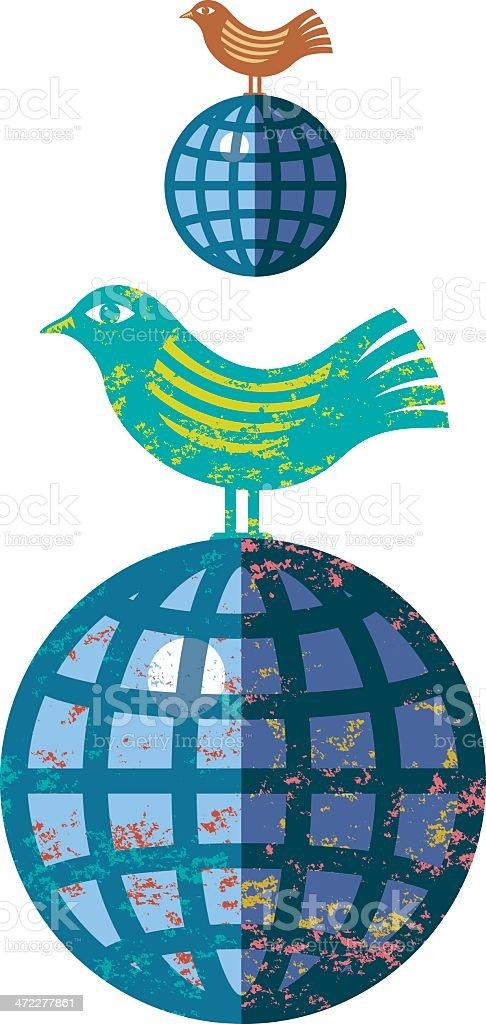 Bird and globe vector art illustration