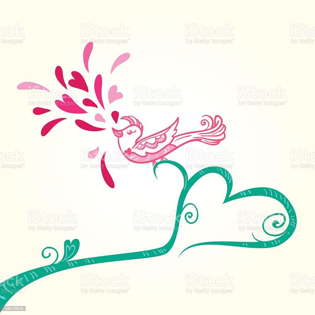 Bird and heart decoration vector art illustration