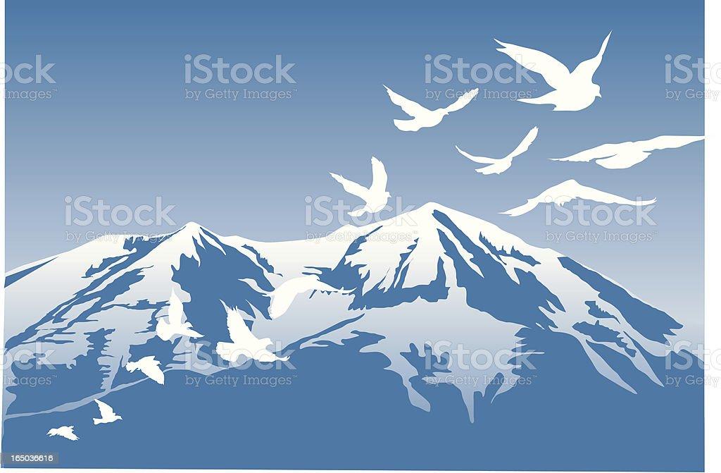 Bird and Mountain Scene Vector vector art illustration